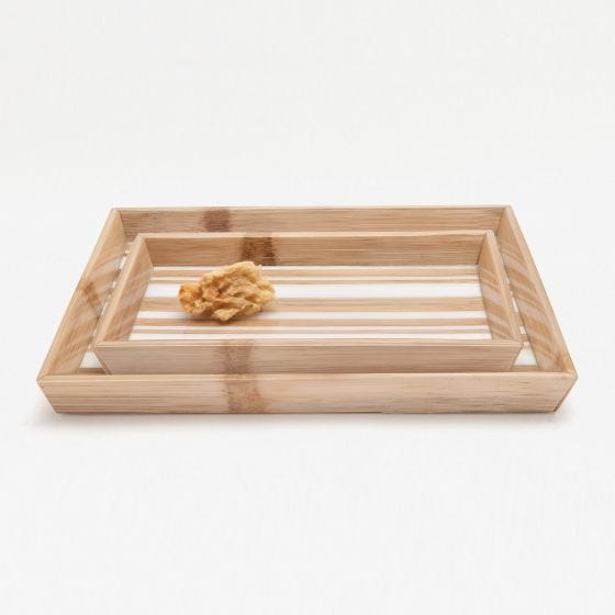 Striped Brown Bamboo/White Resin