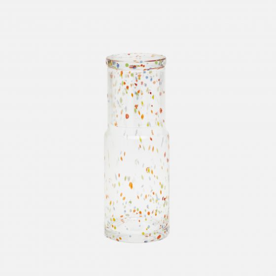Clear Hand-Blown Glass/Multicolor Dots