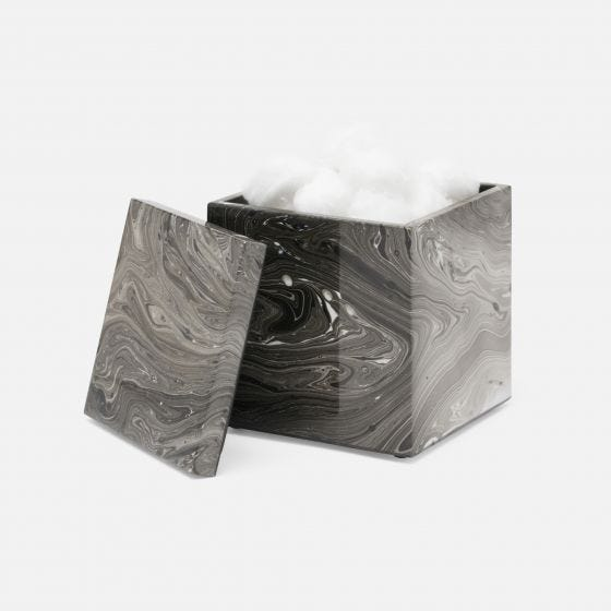 Black Marble Lacquered Wood